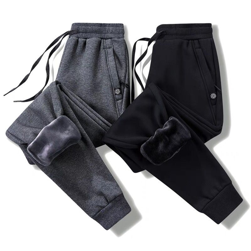 Thick Fleece Jogger Mens Pants Cotton Trousers Male Winter Warm Velvet Sweatpants Tracksuit Joggers Autumn Winter