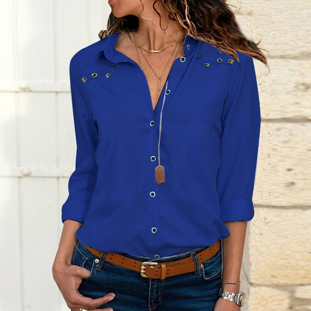 Women's Blouse turn-down Large size autumn winter solid long-sleeved button corns women's chiffon shirt casual ladies blouses 5