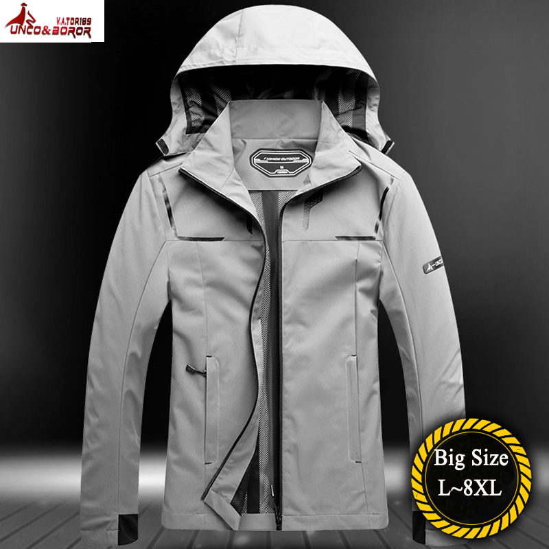 Plus Size 6XL 8XL Men's Casual Waterproof Jacket Spring Autumn Tourism Mountain Jacket Male Windbreaker Hooded Coat Men Clothing