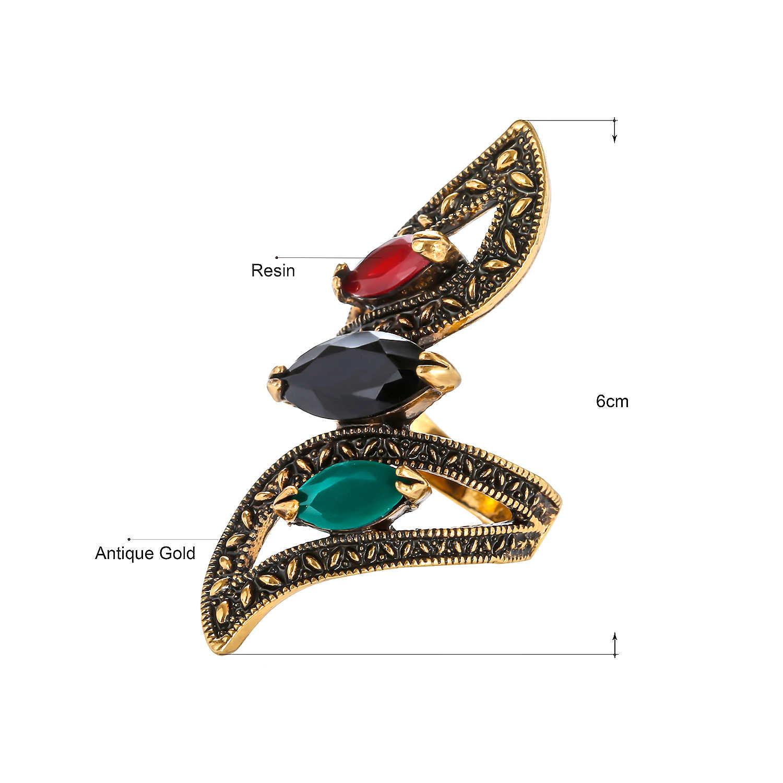 גדול מים טיפות שחור זהב טבעות לנשים ציפוי זהב פסיפס CZ קריסטל אצבע מסיבת חתונה טבעת טורקיה בציר בסדר תכשיטים