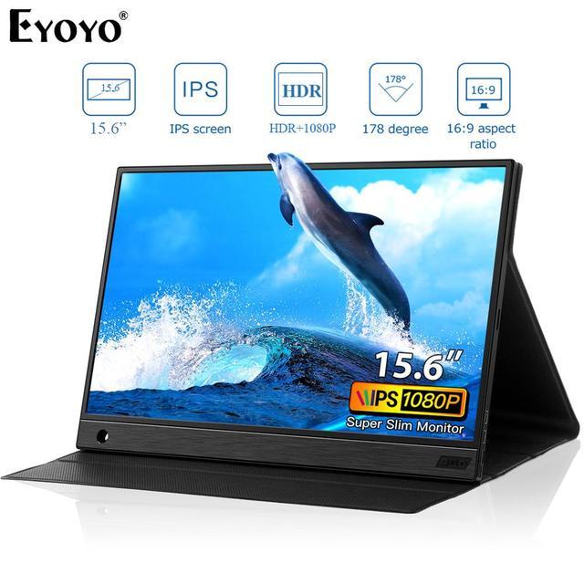 Eyoyo EM15K HDMI USB نوع C شاشة محمولة 1920x1080 FHD HDR IPS 15.6 بوصة شاشة LED مراقب لأجهزة الكمبيوتر PS4 Xbox الهاتف المحمول
