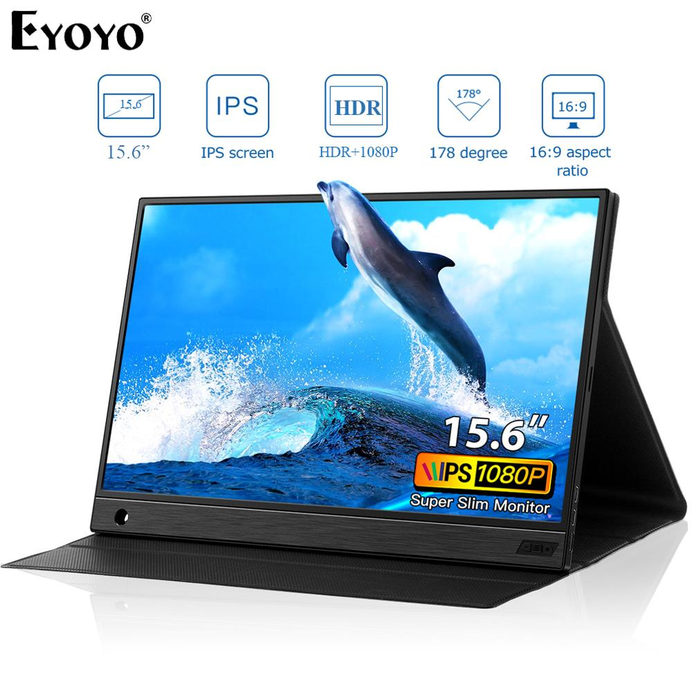 Eyoyo EM15K HDMI USB Type C Portable Monitor 1920x1080 FHD HDR IPS 15.6 inch Display LED Moniteur for PC PS4 Xbox Phone LaptopLCD Monitors   -
