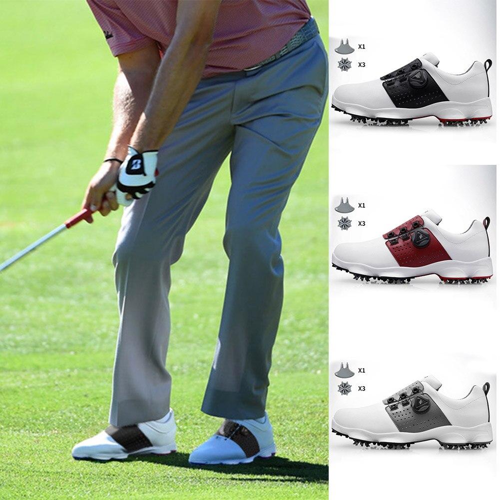 Sapatos de Golfe Homens à Prova Atacado Dwaterproof Água Respirável Antiderrapante Sapatos Esporte Atacadores Esportes Sapato Cravado X85