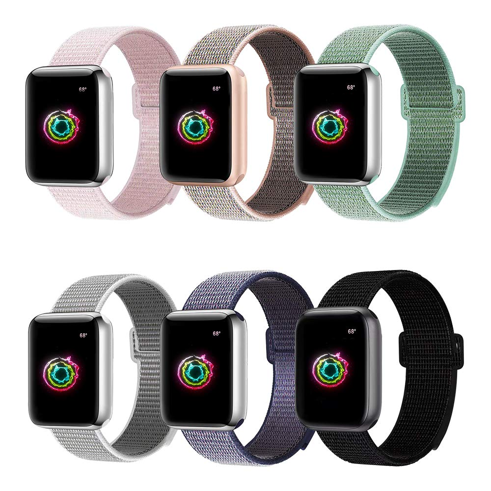 Nylon Strap Band For Apple Watch 4 Series 3/2/1 38MM 42MM  Soft Breathable Replacement  Sport Loop For Iwatch Series 4 40MM 44MM