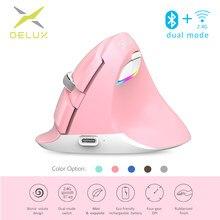 Delux M618 Mini souris sans fil Bluetooth + USB clic silencieux souris d'ordinateur verticale Rechargeable ergonomique rvb pour les utilisateurs de petites mains