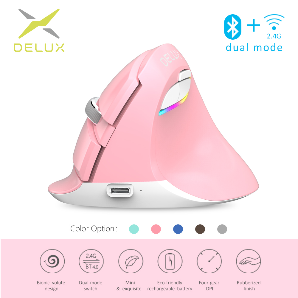 Delux M618 Mini Bluetooth+USB Wireless Mouse Silent Click RGB Ergonomic Rechargeable Vertical Mice For Children Small Hand Users