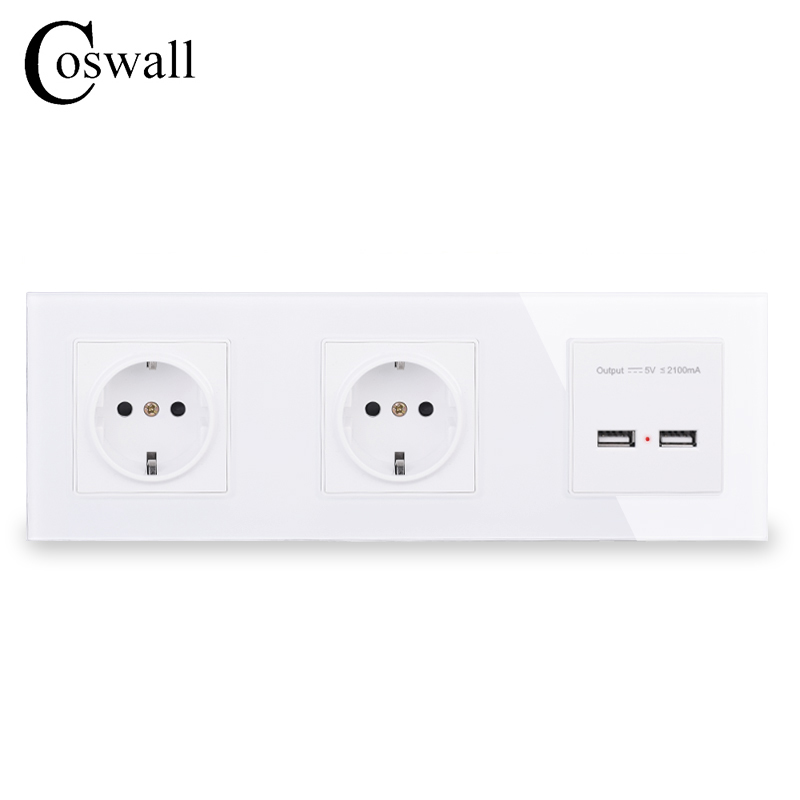 COSWALL Wall Crystal Glass Panel Double Power Socket Grounded 16A EU Electrical Outlet With Dual USB Smart Charging Port 5V 2A