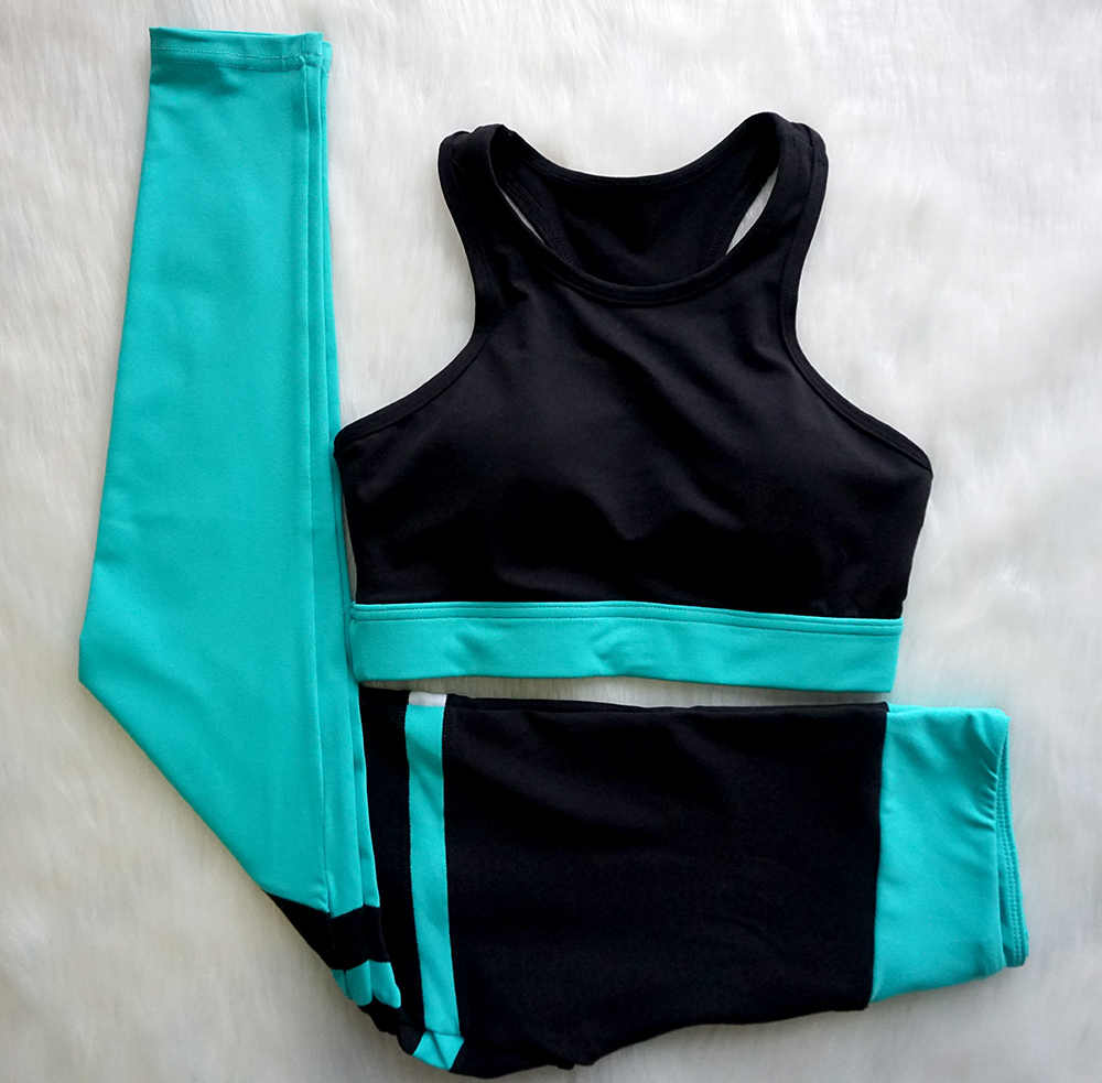 Traje de Yoga para mujer nuevo traje de Fitness de retazos de rayas negras trajes de 2 piezas ropa deportiva de adelgazamiento ropa de gimnasio para Fitness y Yoga