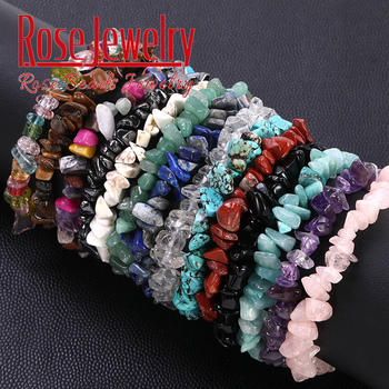 Chakra Bead Bracelet Natural Pink Quartz Crystal Stone Chip Beads Bracelet Stretch Beaded Bracelets for Women Men Unisex Jewelry lii ji natural stone black onyx agate clear quartz crystal with jade clasp bracelet for women party