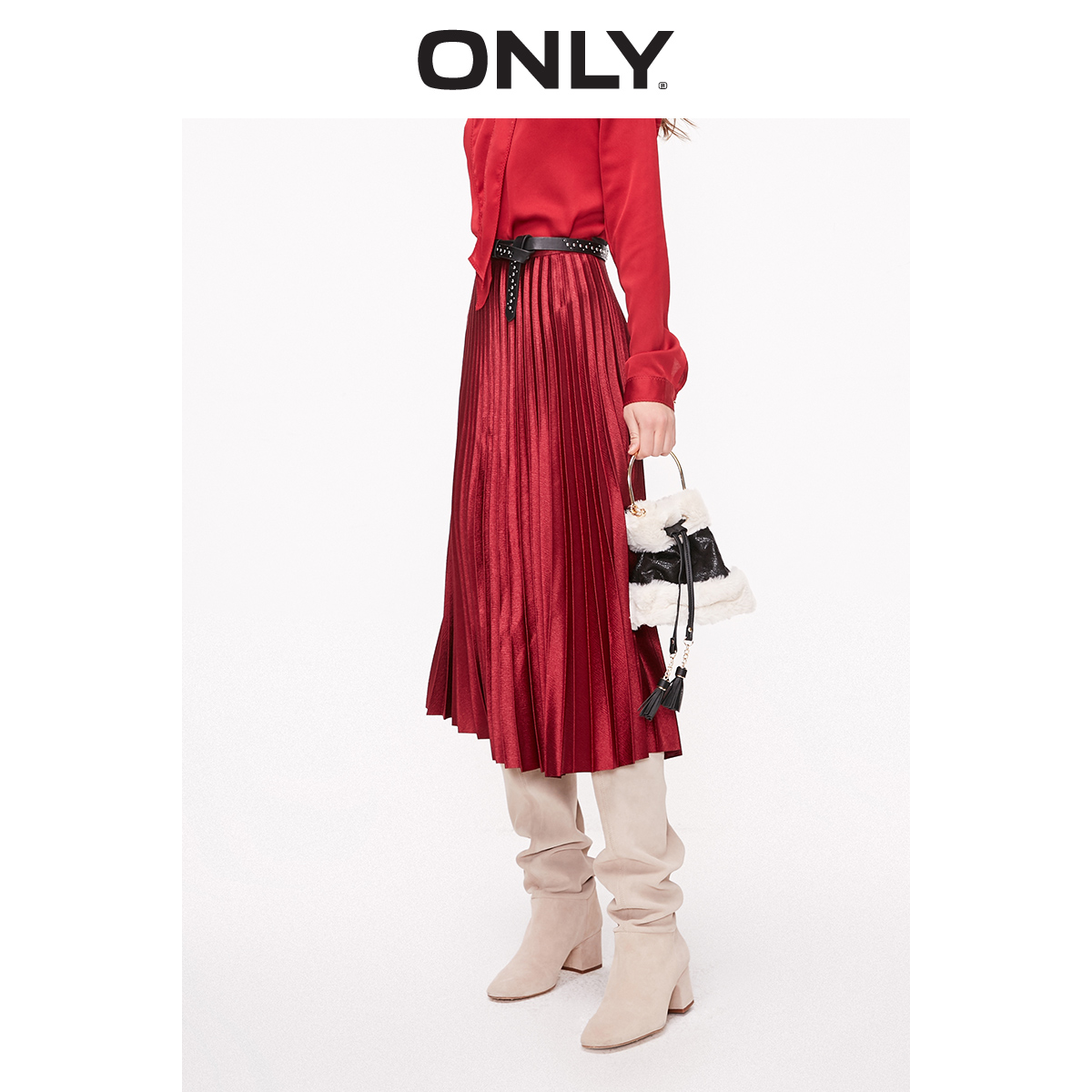 ONLY Women's Mid-length Pure Color Satin Pleated Skirt | 119116510