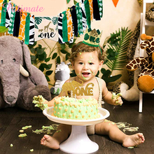 PATIMATE 1st Birthday Banner  Jungle Animal Party Decoration One Year Boy Girl Supplies