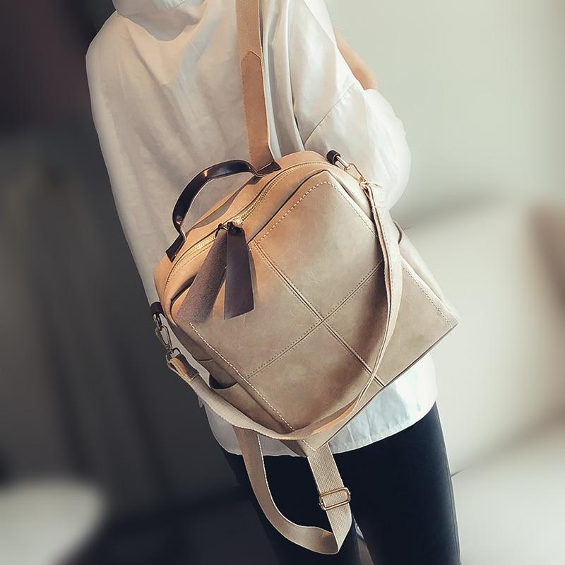 Retro Leather Women Backpack Zipper Fashion School Bag Backpacks For Teenagers Girls Multifunction Mochila Feminina Shoulder Bag