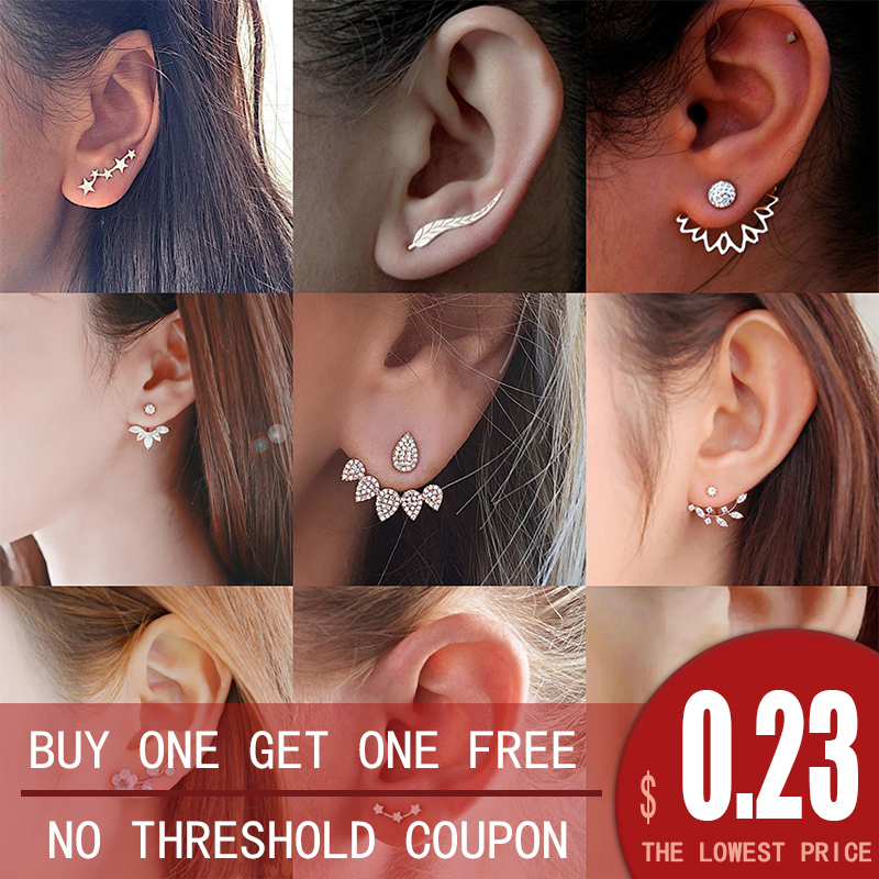 2020 New Fashion Stud Earrings For Women Crystal Flower Gold Silver Jewelry Color Rhinestones Earrings Gift For Party Friend