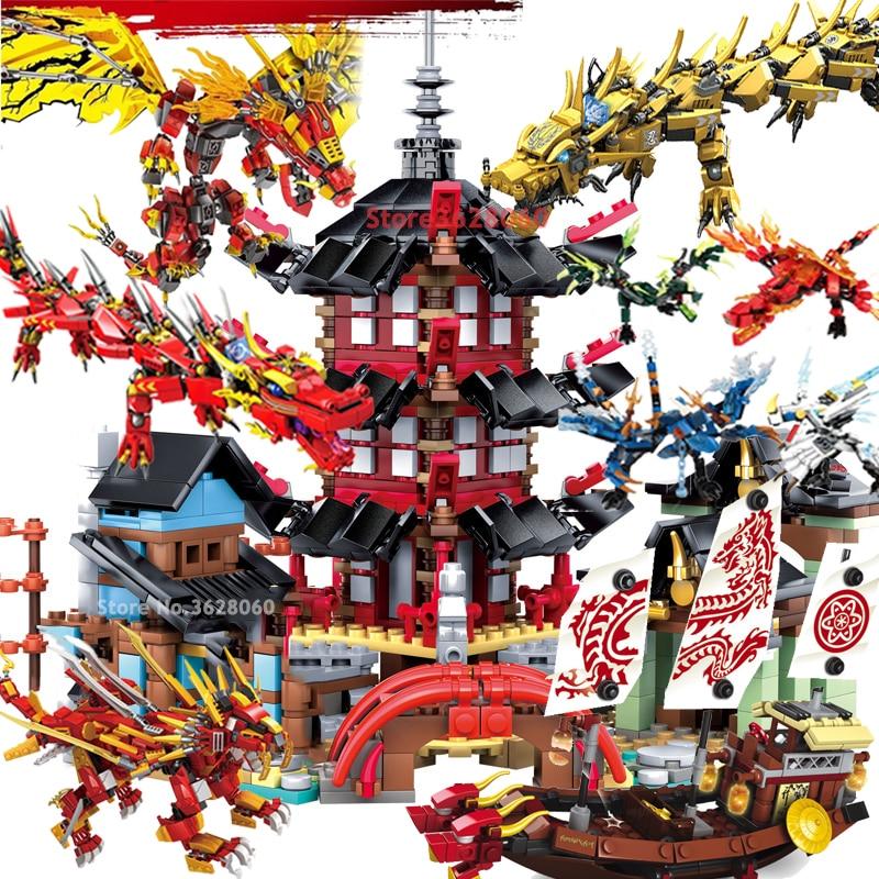 Ninjagoes Temple Flying Dragon Knight Boat Movie Blocks Sets Heroes KAI JAY ZANE Figures Toys Kids For LEGOing NINJAGOes City
