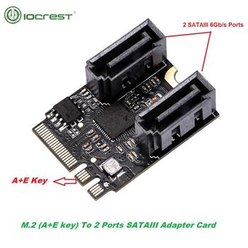 iocrest 2 ports sata 6gbps dual b key m 2 slot pci e card sata 3 0 ngff ssd hdd expansion card adapter support win10 IOCREST M.2 Ngff to Sata 3 Adapter Card A-Key and E-Key to 2 Ports SATA 6gb/s Free Driver 2230mm Size Black