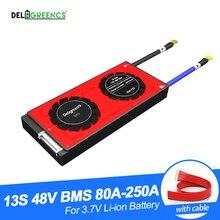 Li PO LiNCM 배터리 팩 용 Deligreen 13S 80A 100A 120A 150A 200A 250A 48V PCM/PCB/BMS 18650 리튬 이온 배터리 팩