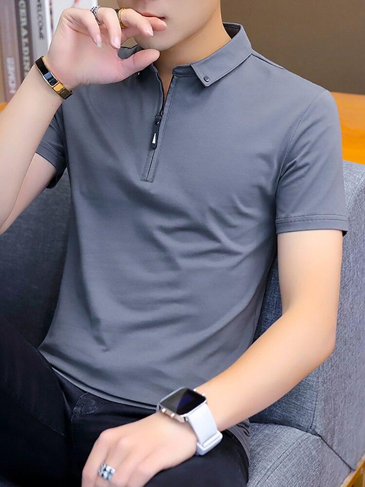 BROWON Mens Tshirts Short-Sleeve Turn-Down-Collar Korean-Style Fashion Summer Cotton