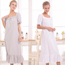 New Arrival Vintage Nightgowns Sleepshirts Elegant Lady Dresses Princess Sleepwear Print Home Dress Lace Sleep & Lounge #H875