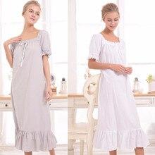 הגעה חדשה בציר כותנות הלילה Sleepshirts אלגנטי ליידי שמלות נסיכת הלבשת הדפסת בית שמלת תחרה שינה & טרקלין # H875