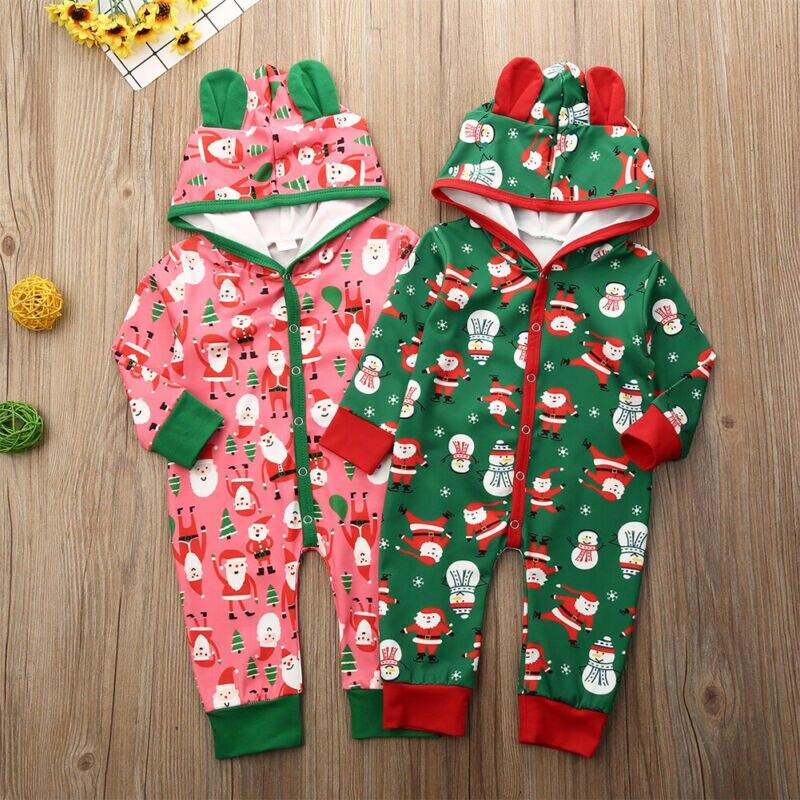 0-18 monate Infant Neugeborenen Baby Weihnachten Overall Santa Mit Kapuze Mädchen Kleidung Nette Baby Jungen Weihnachten Kleidung outfits