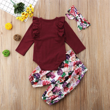 3pcs Set Baby Girl Clothes long sleeve ruffle Outfits