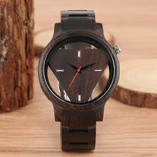 Vintage Inverted Geometric Triangle Wood Watch Quartz