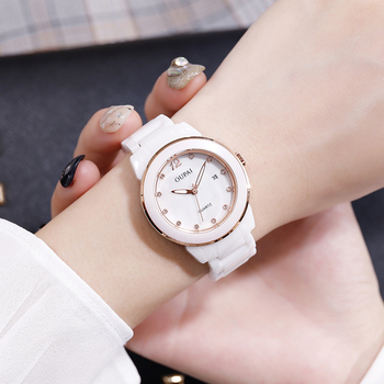 OUPAI New Fashion White Ceramic Watch Students Simplicity Clean Luxury Watch Lady Waterresistance Quartz Elegant Watch  Women