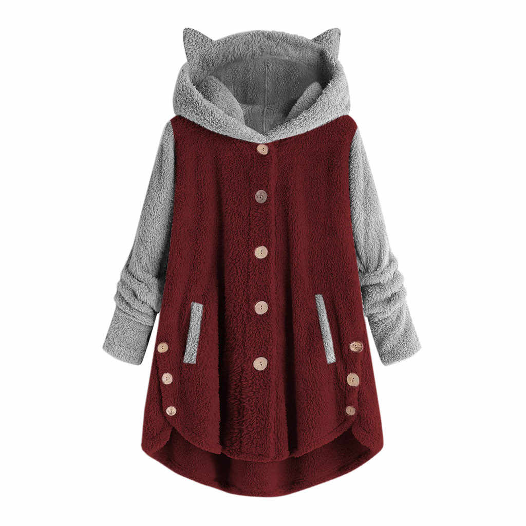 Frauen Hoodies Sweatshirts Winter Warm Mit Kapuze Tops Lose Weiche Nette Patchwork Mantel Harajuku Damen Grundlegende Kawaii Pullover Trainingsanzug