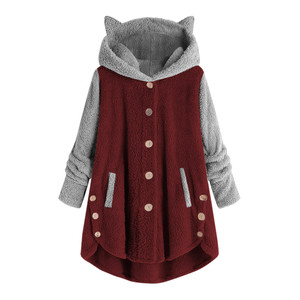 Women Hoodies Sweatshirts Winter Warm Hooded Tops Loose Soft Cute Patchwork Coat Harajuku Ladies Basic Kawaii Pullover Tracksuit