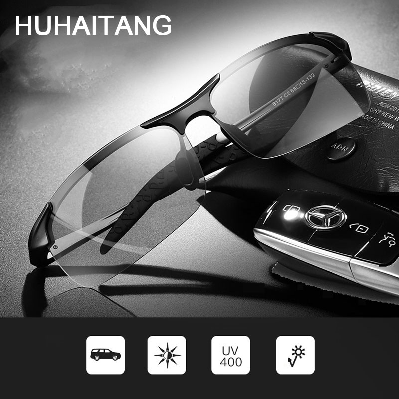 Classic Photochromic Polarized Sunglasses Men Driving Change Color Sun Glasses For Mens Brand Day Night Vision Sunglass Man