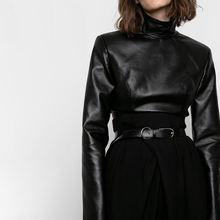 Женские топы из искусственной кожи в стиле панк черные облегающие