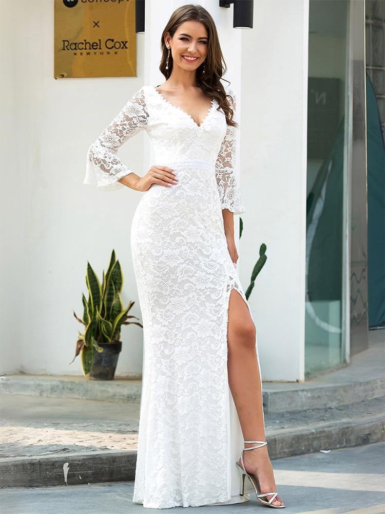 Wedding-Dresses Bride-Gowns Robe-De-Mariee Lace Mermaid Ever Pretty 3/4-Sleeve Zipper