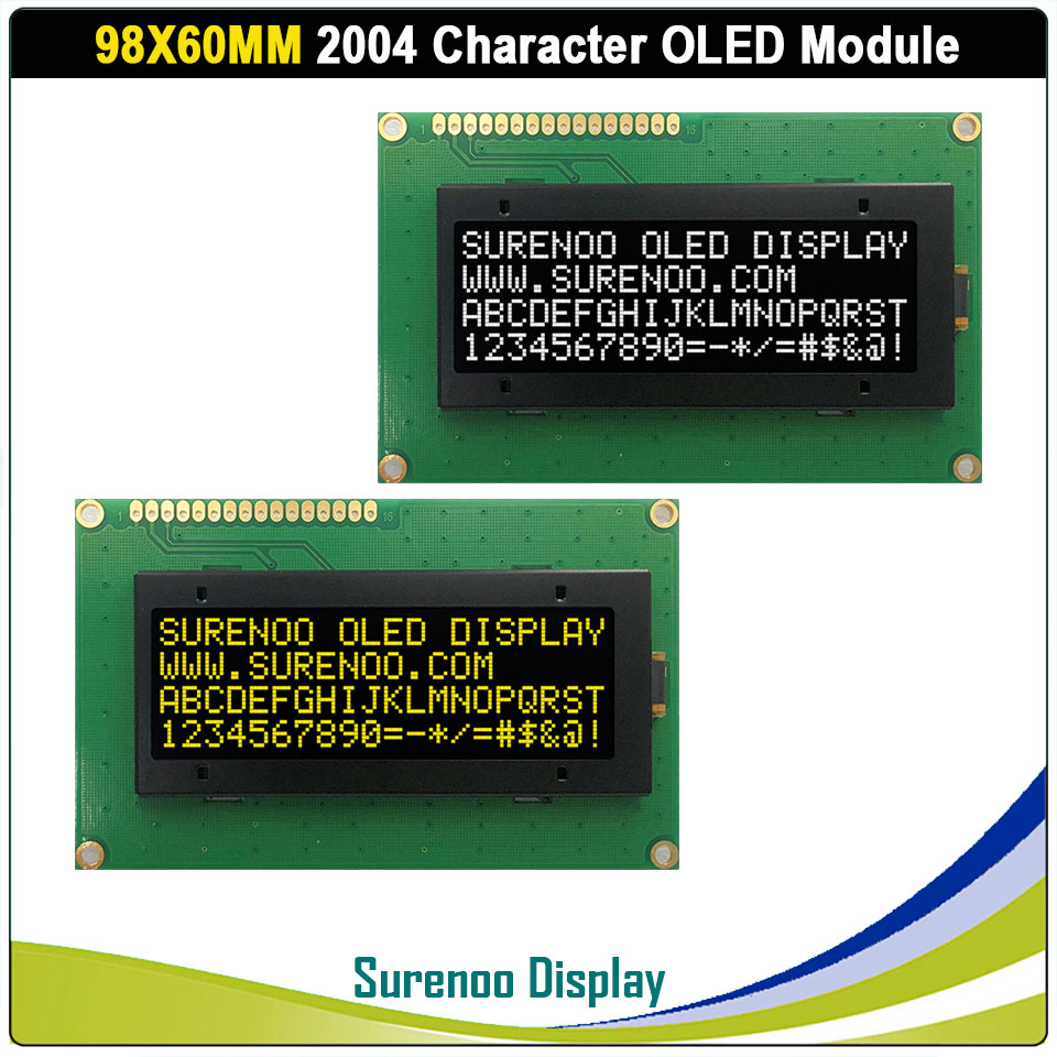 Real OLED Display, 2004 204 20*4 COG Character LCD Module Screen LCM Build-in US2011, Support Serial SPI IIC/I2C
