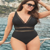 Mesh Insert High Waist Plus Size Swimsuits V Neck Swimwear Push Up One Piece Swim Suit for Women Ladies Bathing Suits Black 4xl