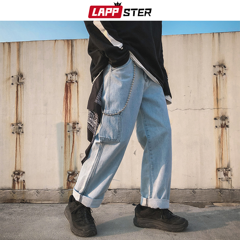 LAPPSTER Men Oversized Streetwear Blue Jeans Pants 2020 Mens Designer High Wasit Denim Pants Male Overalls Fashions Harem Pants