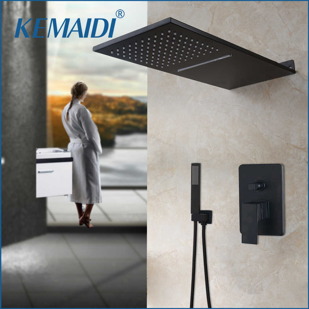 KEMAIDI Black Brass Solid Brass Wall Mounted Rainfall Shower Faucet Rainfall & Waterfall Shower Head Shower Faucet Set Control