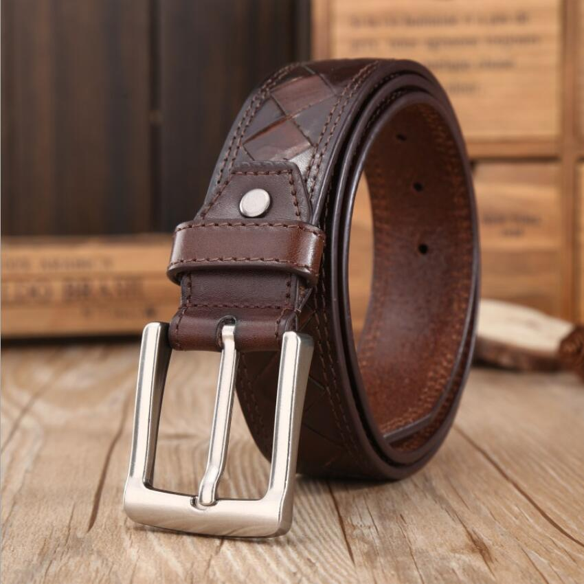 Pin Buckle Genuine Leather Plaid Belt Men 100% Cowskin Jeans Belts High Grade Male Vinatge Belt Quality Assurance XKS057