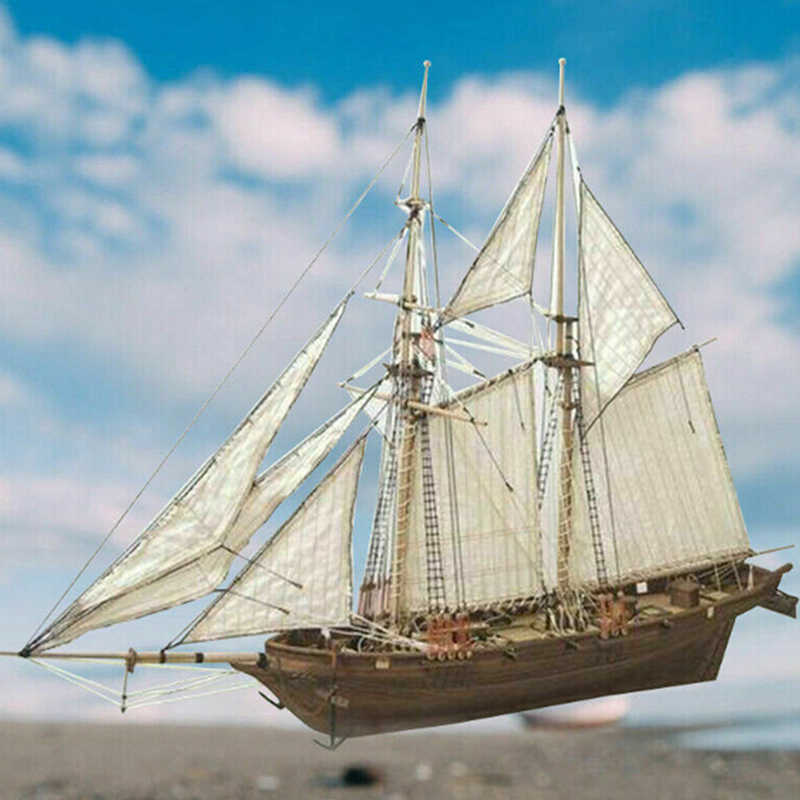 1:100 Halcon Wooden Sailing Boat Model DIY Kit Ship Assembly Decoration Gi WMS