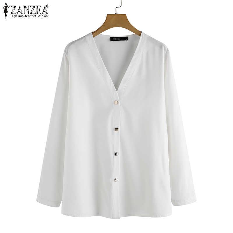 Delle Donne di modo Solido Bianco Camicette Office Lady Abbigliamento Da Lavoro ZANZEA 2020 Primavera Manica Lunga Camicetta Femminile Elegante Con Scollo A V Tunica Magliette E Camicette