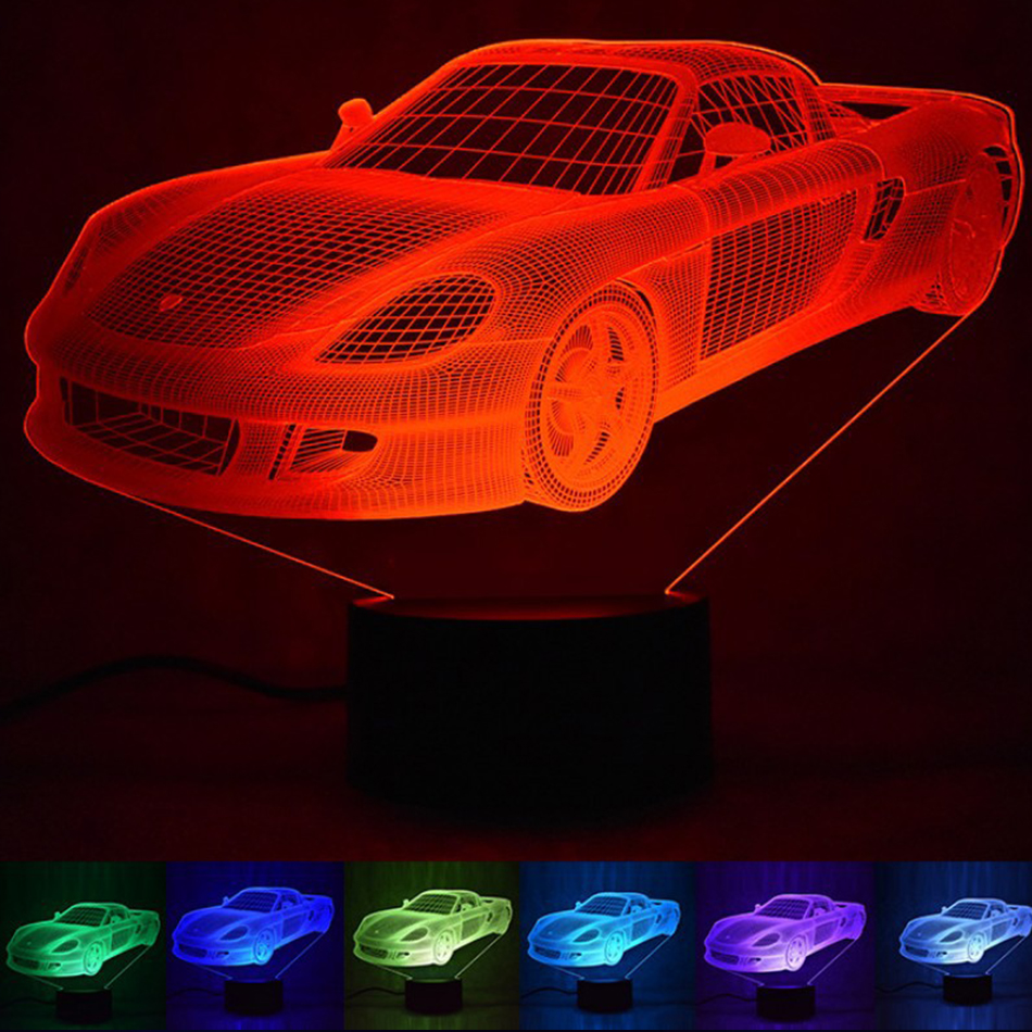 Souvenir Gift 3D Hologram Illusion Unique Lamp Acrylic Night Light With Touch Switch Luminaria Lava Lamp 7Colors Changing Deco