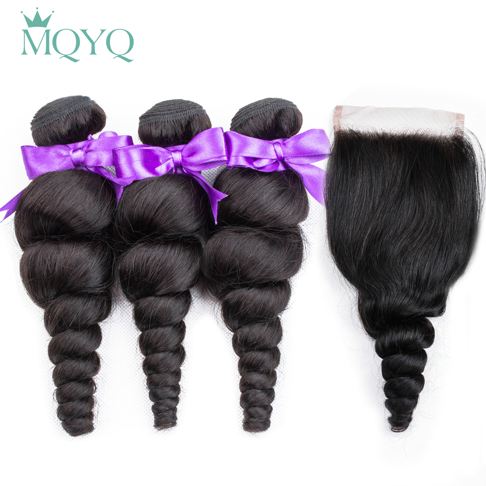 MQYQ Hair Brazilian Loose Wave Human Non Remy Weave Bundles with Closure 3 Bundles With Closure Natural Color Hair Extension
