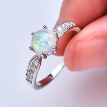 boho female blue opal stone ring dainty round crystal silver wedding rings for women cute bridal love heart engagement ring Classic Female Blue Opal Stone Ring Cute Crystal Silver Wedding Rings For Women Cute Bridal Round Engagement Ring