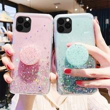 Glitter Bling Case Voor Iphone 12 Pro Telefoon Geval Epoxy Op Iphone 11 Xr 7 X Se 2020 Xs Max 8 6 6S Plus Iphone12 Mini Star Sky Capa