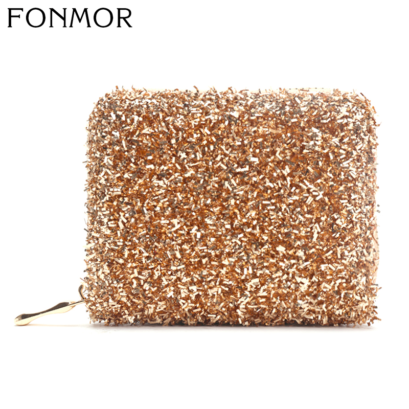 2019 Women Wallets Small Fashion  PU Leather Purse Ladies Sequin Card Bags For Women Clutch Female Purse Money Clip Wallet