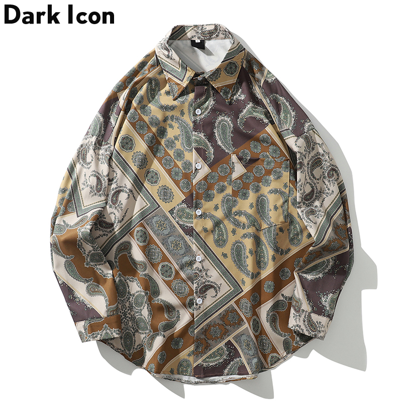 Dark Icon Bandana Shirt Long Sleeve Men 2019 Autumn Vintage Casual Blouse Hawaii Style Shirt For Men Streetwear Clothing