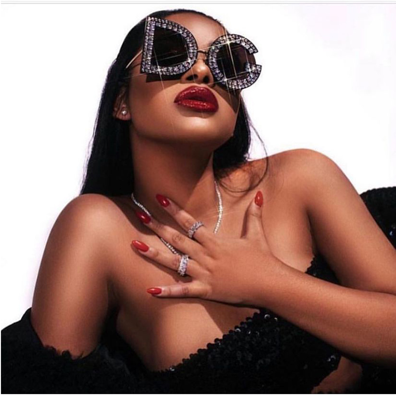 Retro Unique Design Letter Frame Sunglasses 2020 Women Men Punk Irregular D Diamonds Sunglasses Luxury Brand G Glasses UV400