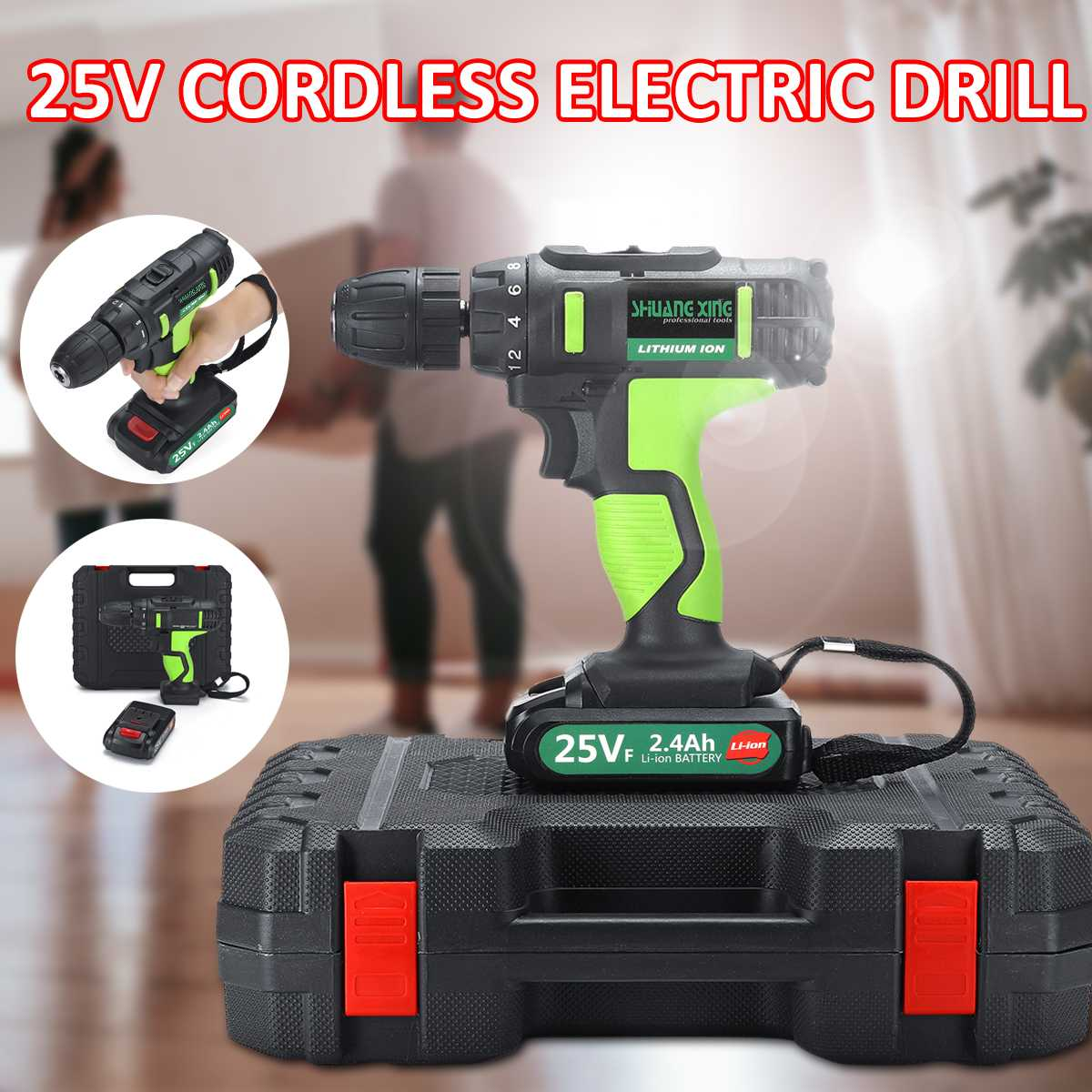 250W 220V Double Speed Electric Screwdriver Lithium Battery Rechargeable Electric Drill With LED Light Electric DIY Tool Set
