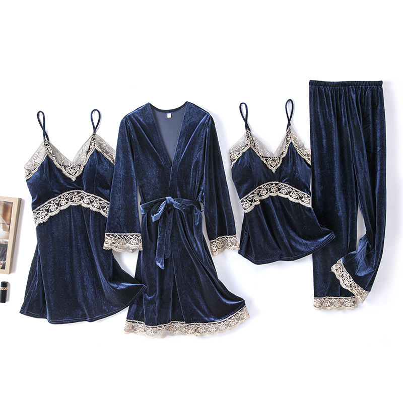 2020 Gold Velvet 4 Pieces and 5 Pieces Warm Winter Pajamas Sets Women Sexy Lace Robe Pajamas Sleepwear Kit Sleeveless Nightwear 13