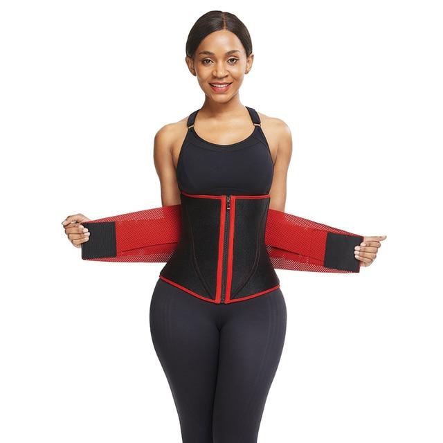 SHER Neoprene Sauna Waist Trainer Corset Sweat Belt for Women Weight Loss Compression Trimmer Workout Fitness 3