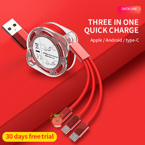 Dragon master 3in1 Retractable USB Type C Micro USB charge Cable for mobile phone Charger Cable 1m 2.4A Fast Charging TPE cord
